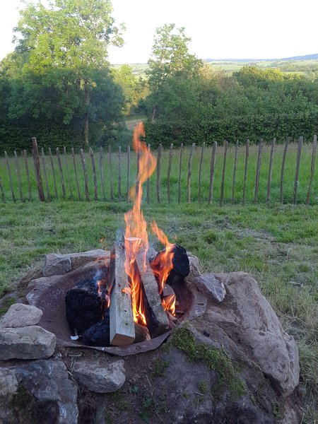 Open fire at our Shepherd's Hut