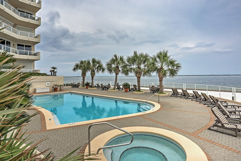 Enjoy the perfect beach retreat at this Destin condo, right on the sandy shores.