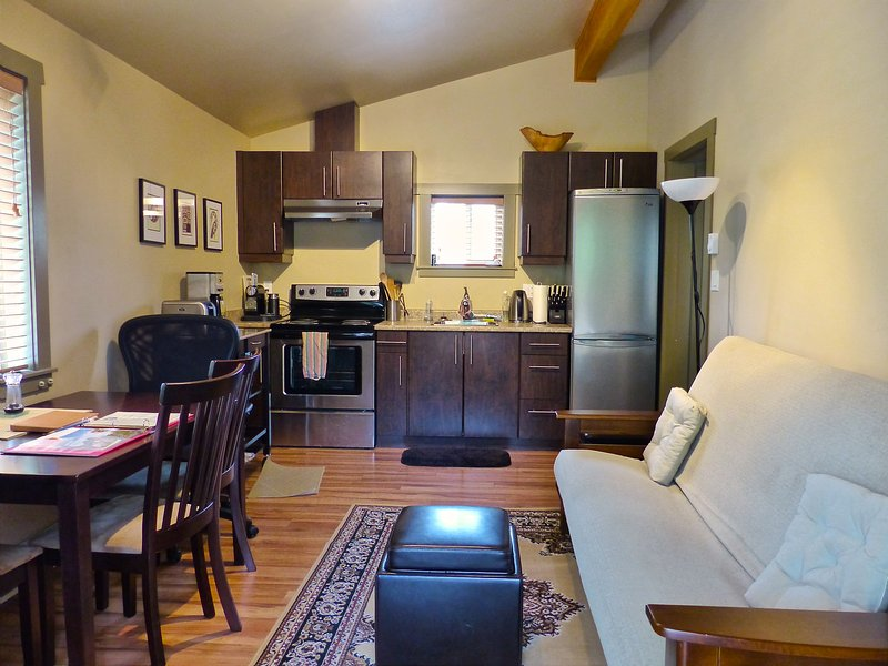 Fully equipped kitchen with stove, fridge with freezer and a futon in the living room if needed.