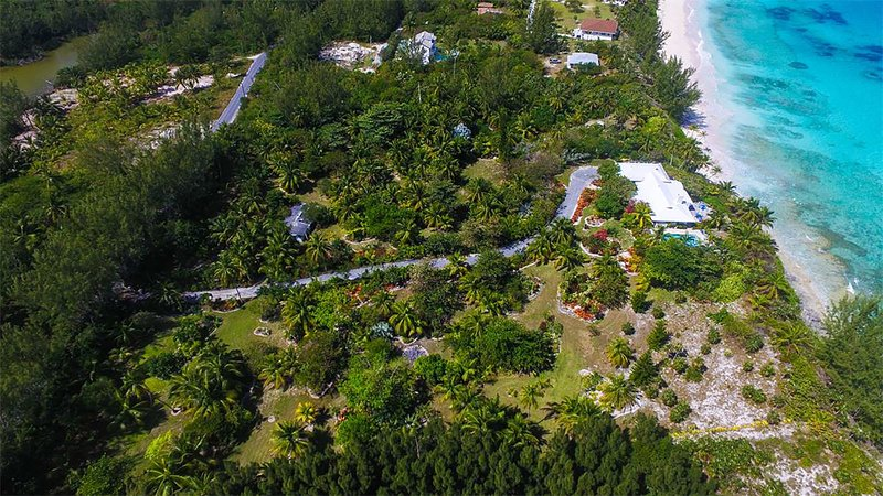 Overhead view of house and 5 acres of gardens.