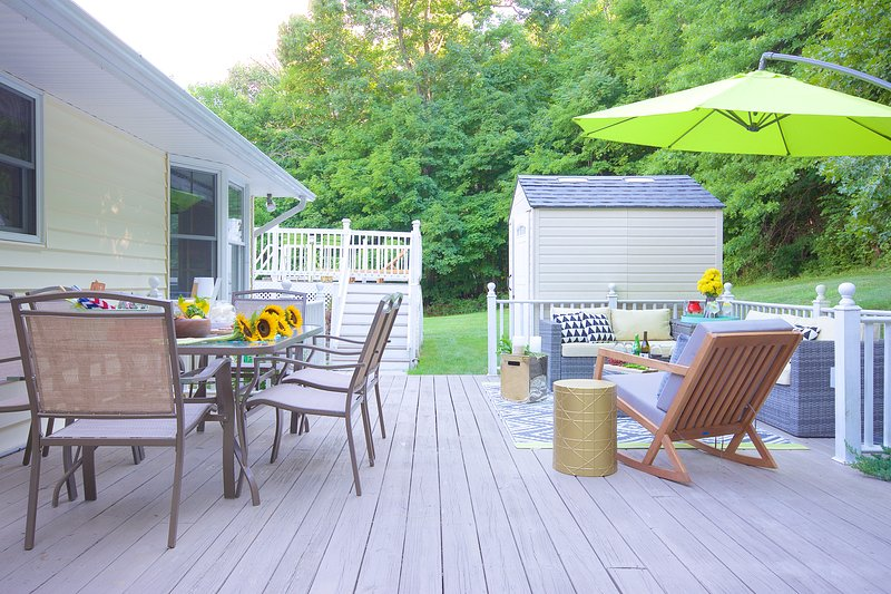 Outside the kitchen, another deck awaits you.