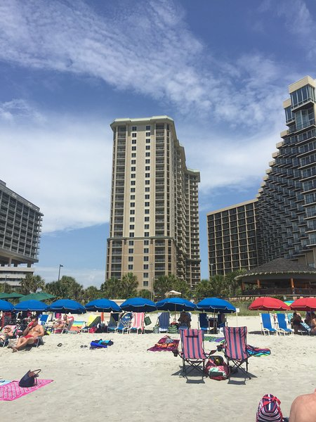 View of Royale Palms and the Hilton from the beach. These buildings are attached.