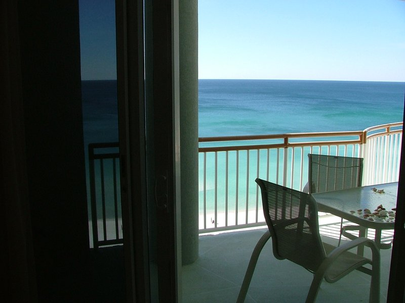 Sliding glass door from Master to balcony & Gulf