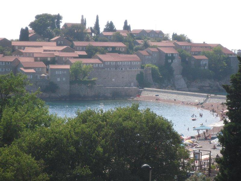 View of Sveti Stefan from beach.