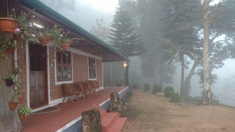 Villa på en dimmig morgon