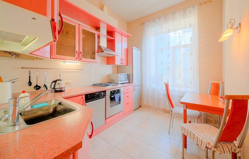 Voll ausgestattete Küche. Toaster, Kaffeemaschine, Spülmaschine, Mikrowelle und andere Nebenkosten.