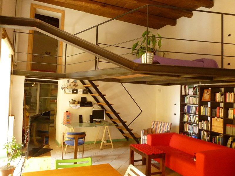 livingroom with mezanine
