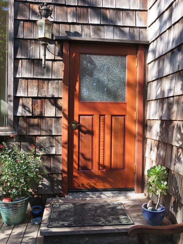 our beautiful new Virgin Redwood handcrafted door