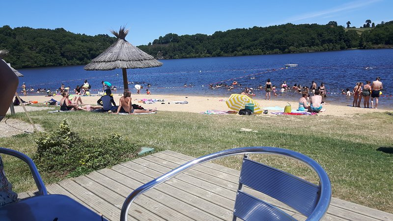 Sidialles Lake with sandy beach, pedalos, canoes,.tree walks, ziplines and snack bar