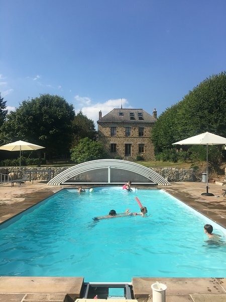 Outdoor heated salt water pool at  Montflori. 10m x 5m with spacious terrace.