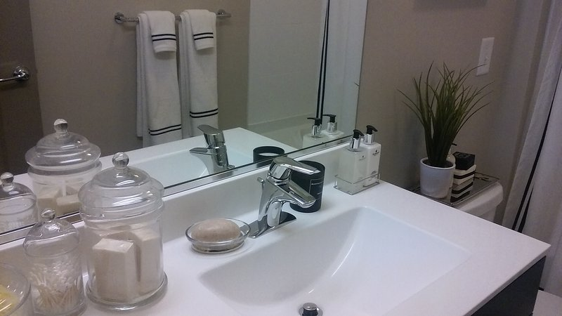 Full Bathroom on Lower Level. Marble topped basin, with shower/tub.