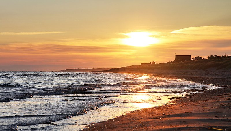 The Beach. Sunset