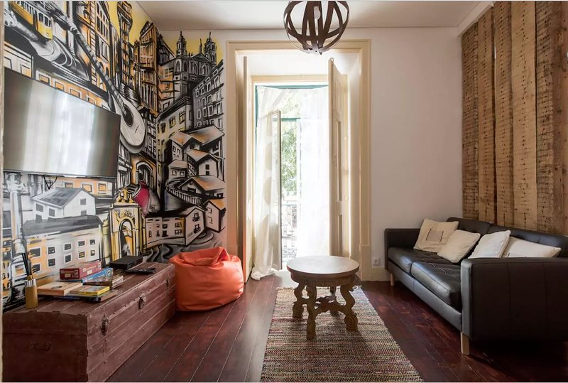 living room with art work of Lisboa - get your inspiration for your next day in Lisboa