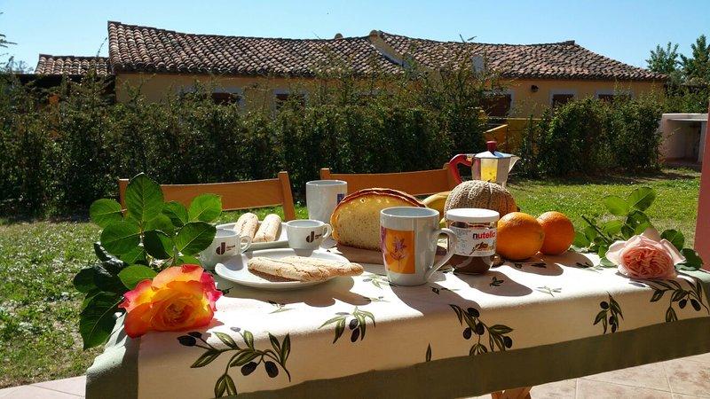 Ensolarado pequeno-almoço no jardim