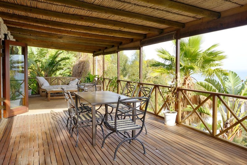 Beautiful, spacious wooden deck.