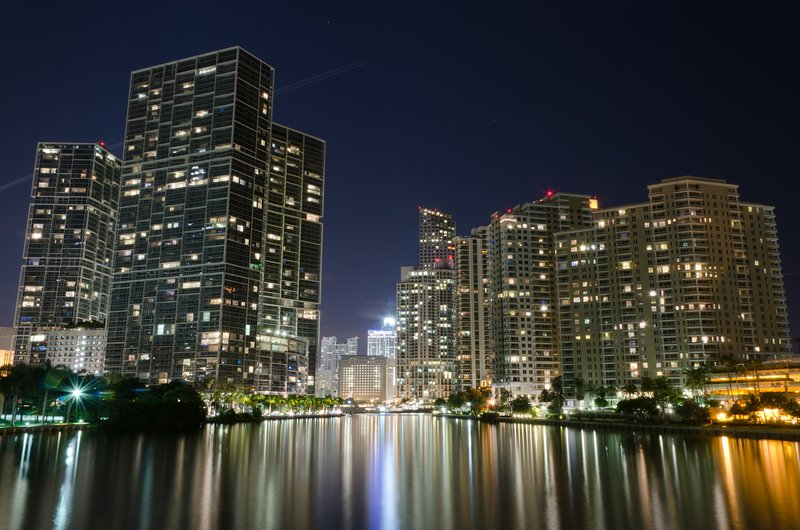 Brickell at night. Picture taken from the bridge to Brickell Key.