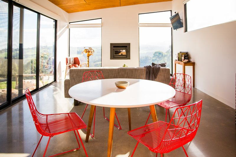 funky red dining chairs