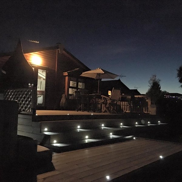 Rear of the lodge at night