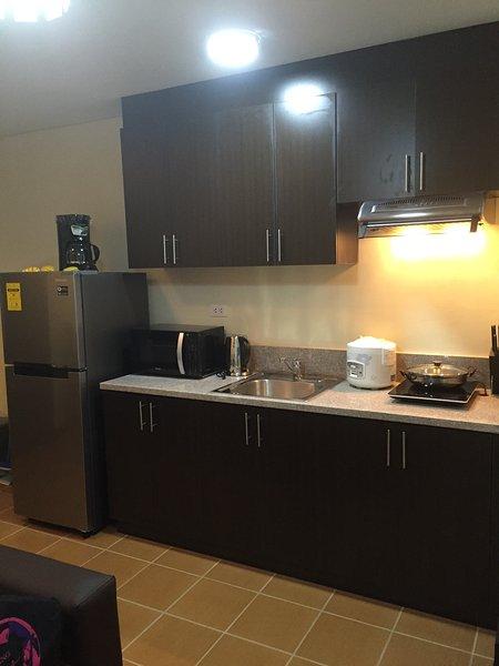 Cuisine w / armoires, réfrigérateur, machine à café, micro-ondes, bouilloire, cuiseur à riz, cuisinière à induction.