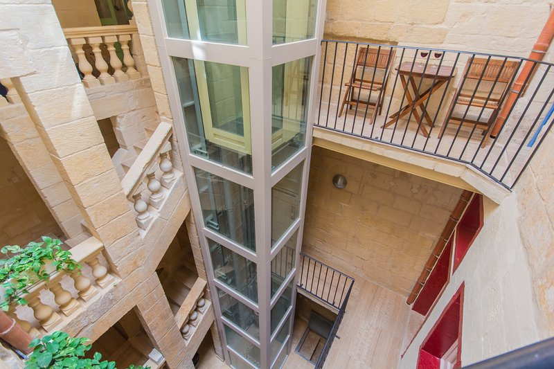 Lift serving all 3 apartments in Casa San Carlo