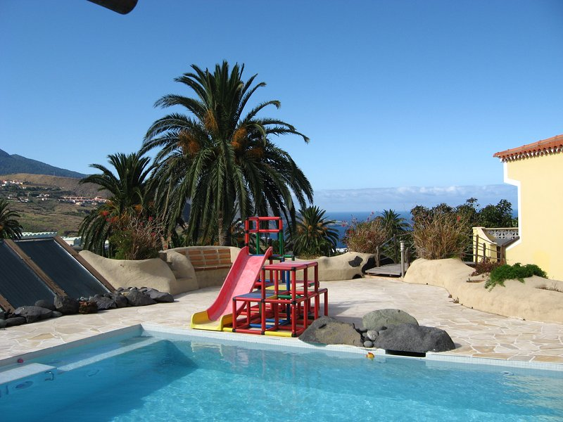 Solar heated pool with jet stream and ocean views