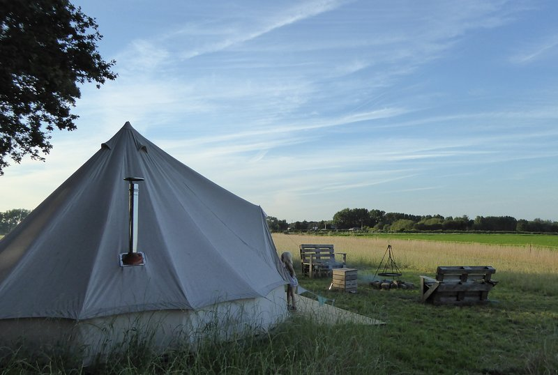 Fully furnished bell tent, log burning stove, hard base, cosy coir floor, private firepit & seating.