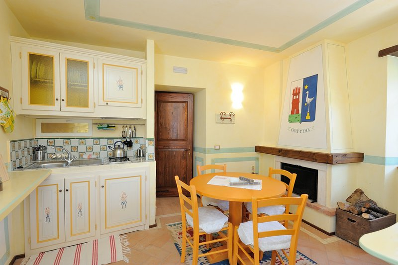 Living room with kitchenette and fireplace