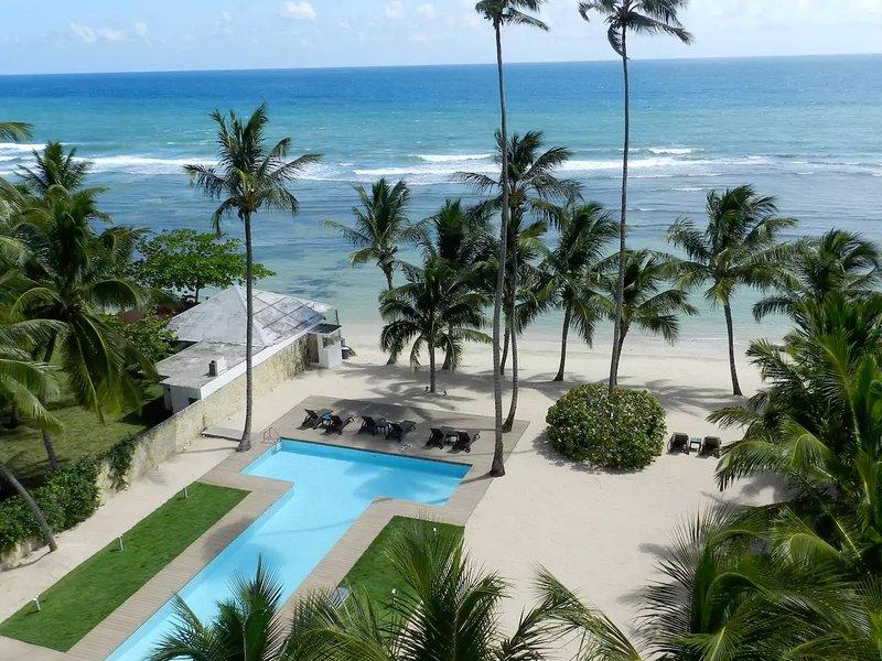 Opinión de la terraza en la playa privada