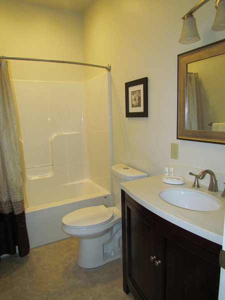 Main bathroom with tub-shower combination and large vanity with marble counter top.