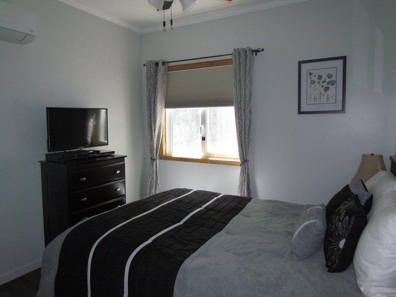 Queen bedroom with dresser, TV, DVD, and closet.