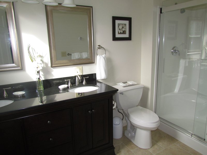 Master bathroom with double sinks, granite counter top, and full walk-in shower.