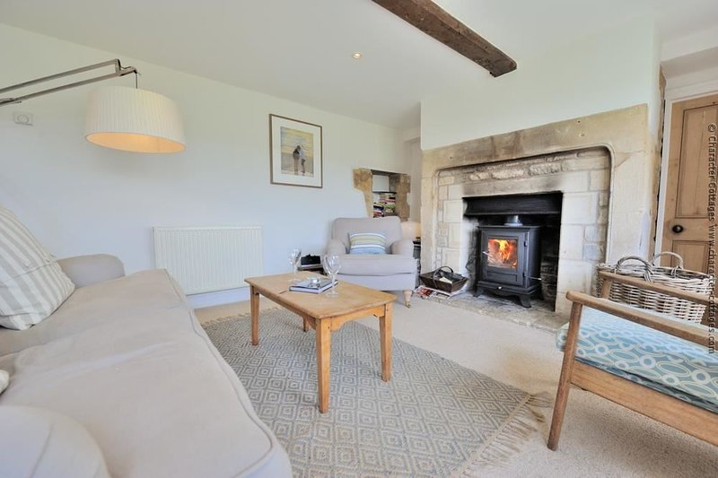 Cosy lounge area, with log burner