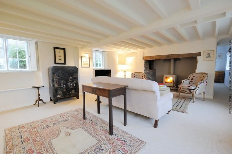 Bright and spacious living room, with roaring log burner...