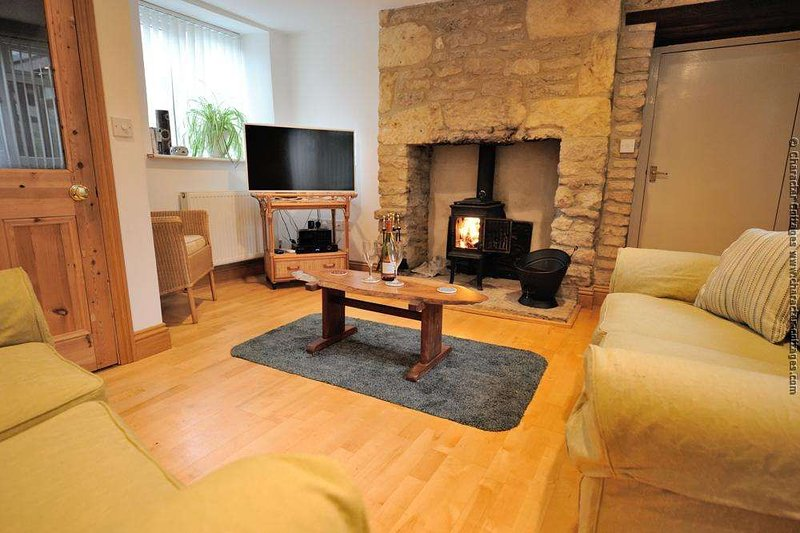 Light and spacious living room with Jotul log burner