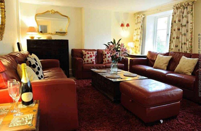 Le grand salon avec des canapés confortables