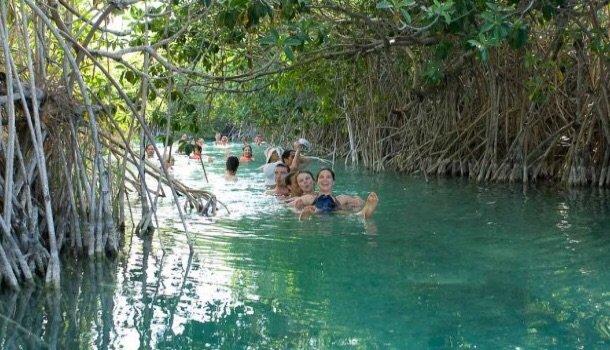 Floating in the Lazy river Sian Ka'nn biosphere