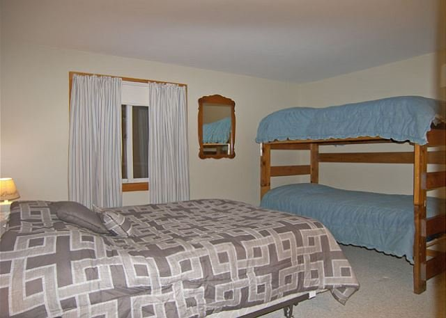 Bedroom with Queen Bed and Bunk Bed Set