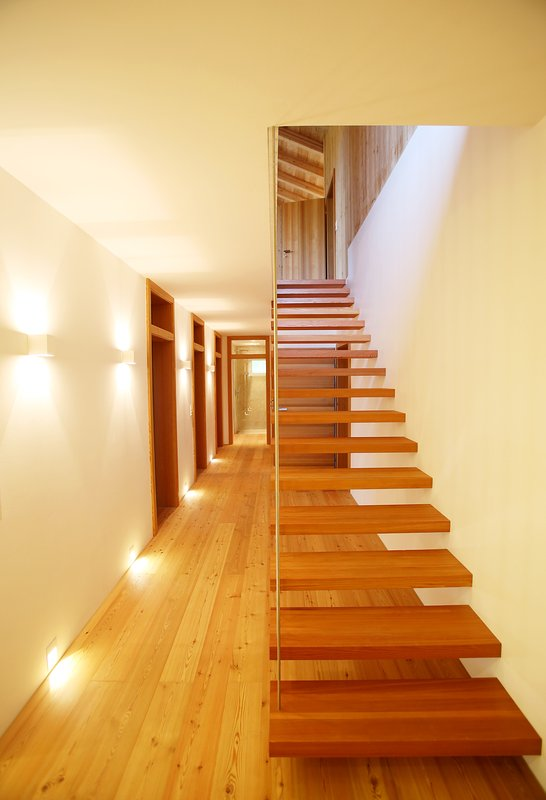 Contemporary, stylish stairs give character to the house.