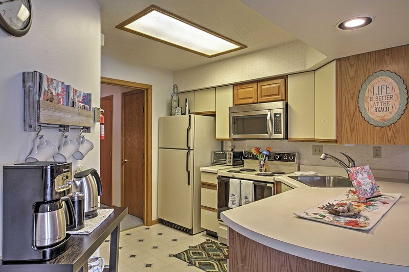 Cook a meal in this home's full kitchen.