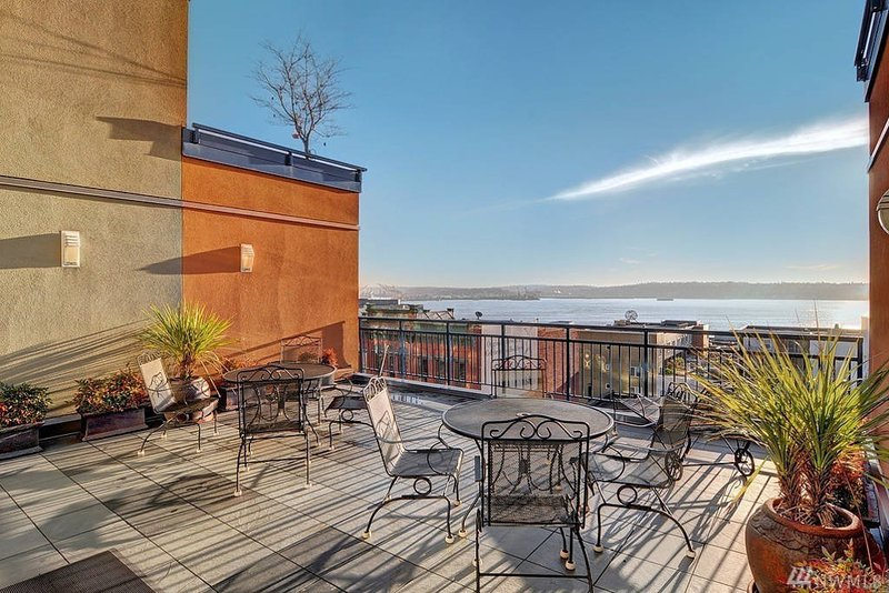Breathtaking views of the Puget Sound from the community roof top balcony.