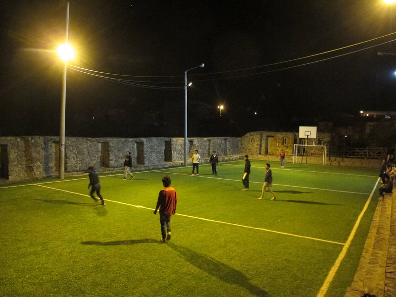100 meters is this sports complex surrounded by Inca walls and is open 24 hours.