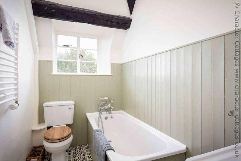 El cuarto de baño, con bañera y ducha cuarto de mano, inodoro y lavabo