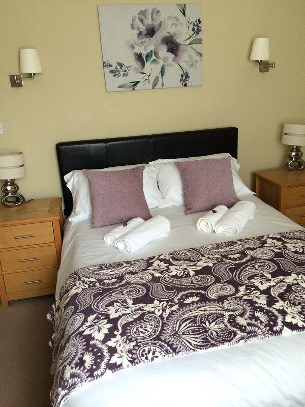 Indietro camera da letto che si affaccia Coachhouse vittoriana e giardino.