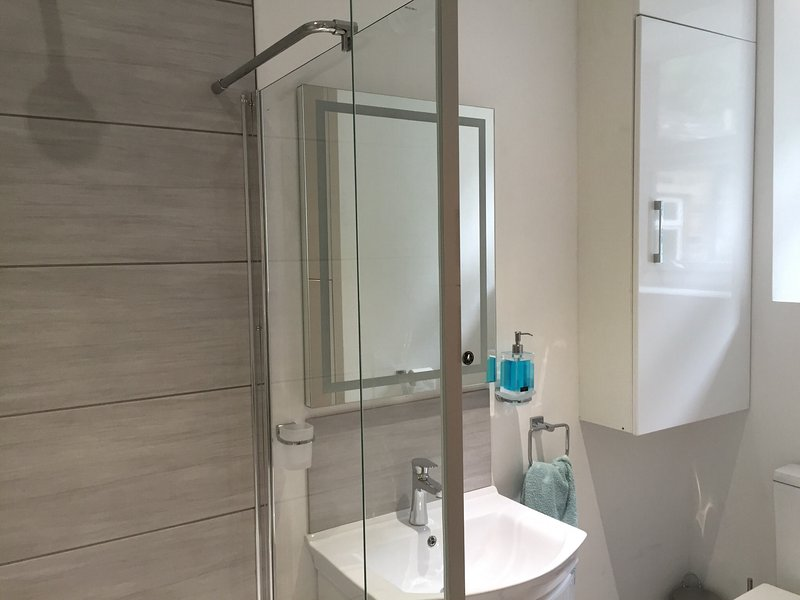 El amplio cuarto de baño tiene una ducha de alta presión Aqualisa digital, lavabo, retrete, caldera de gas, lavadora / secadora