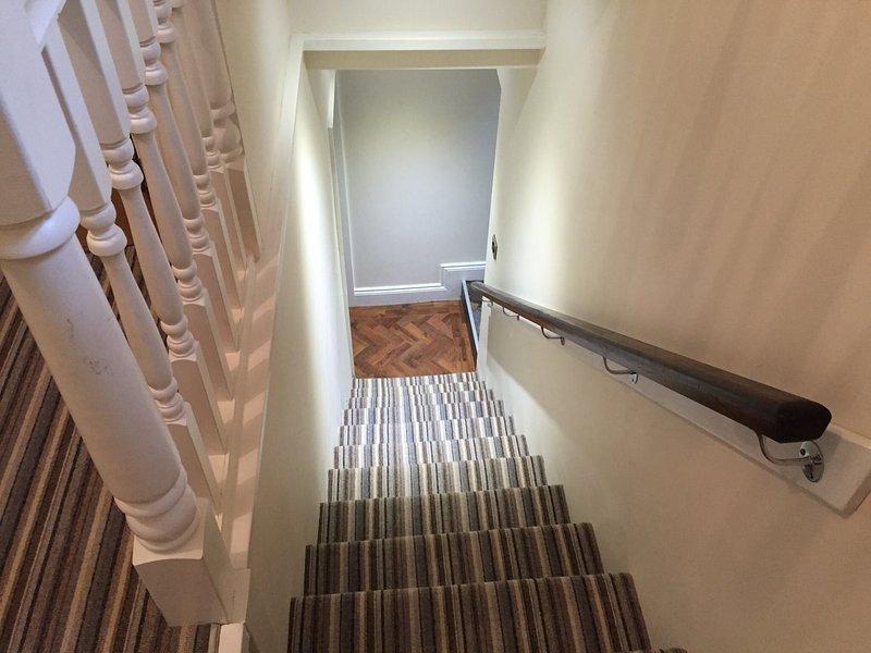 La escalera tiene pasamanos tradicional para ayudarle. Tenga en cuenta el escalón más alto es más alto.