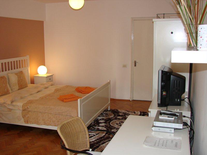 Grote kamer, groot bureau en een kledingkast perfect voor een langer verblijf.