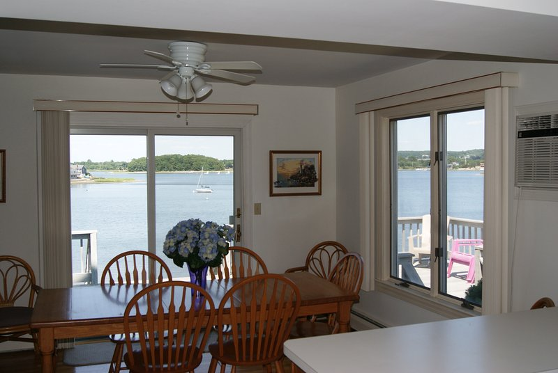 Enjoy views from glass slider and large window as you dine. Counter island is great for serving food