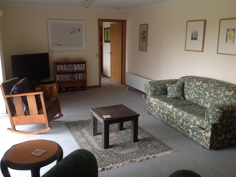 Lounge room with TV, DVD library, games.