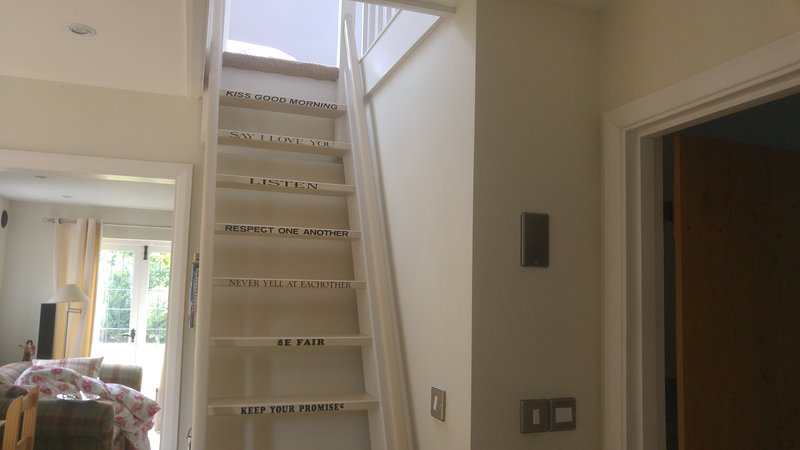 Ladder leading to upstairs bedroom.