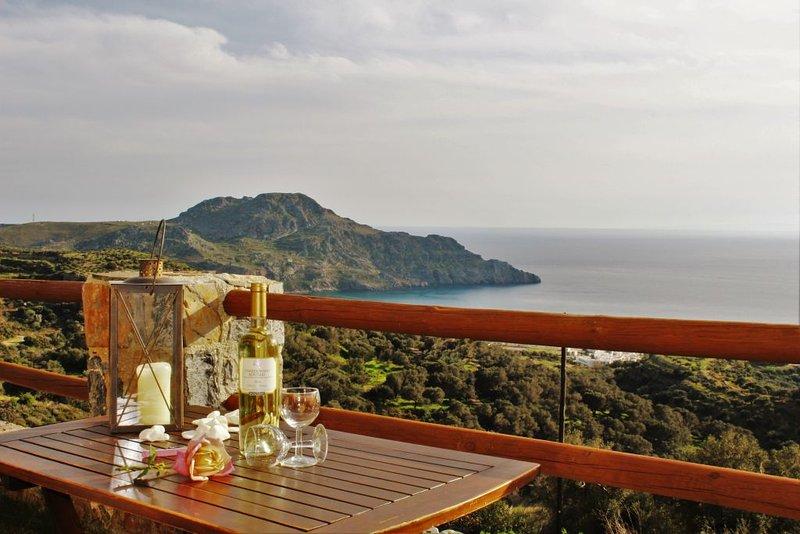 vista para o mar e para a montanha deslumbrante a partir do terraço jardim.